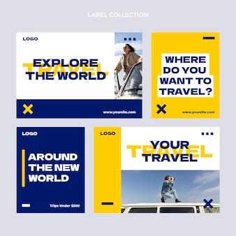 평면 디자인 여행 레이블 컬렉션 무료 벡터