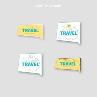 Design piatto sulle etichette da viaggio
