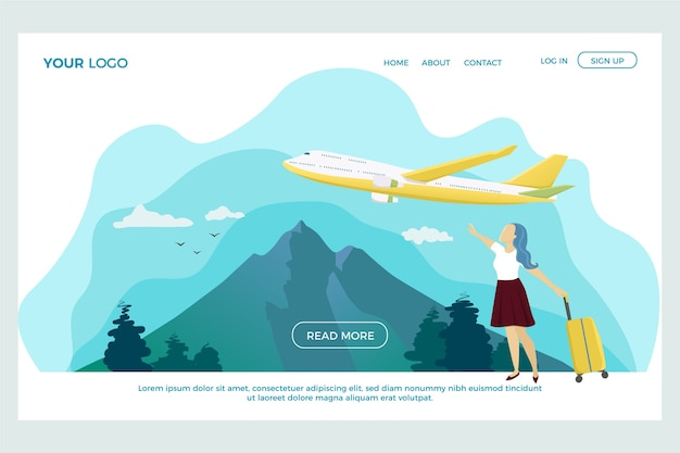 Flat design travel landing page template