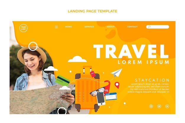 평면 디자인 여행 방문 페이지 템플릿