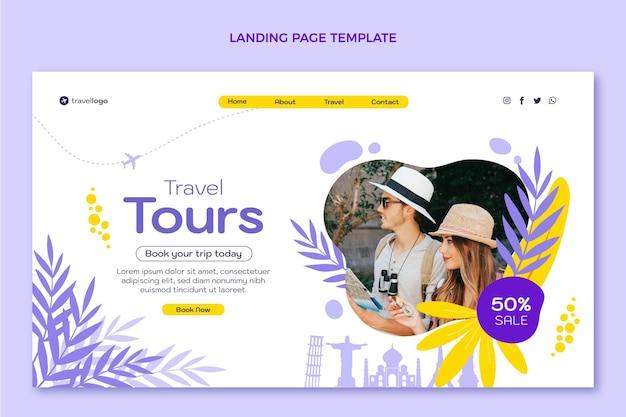 Плоский дизайн шаблона целевой страницы путешествия