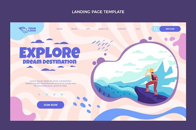 Modello di pagina di destinazione di viaggio di design piatto