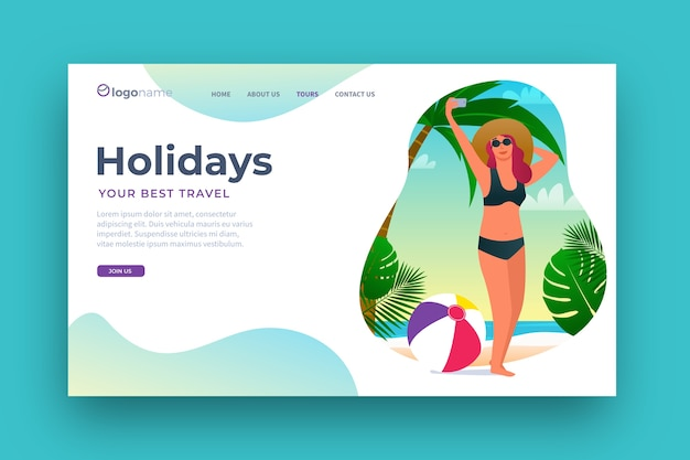 Flat design travel landing page