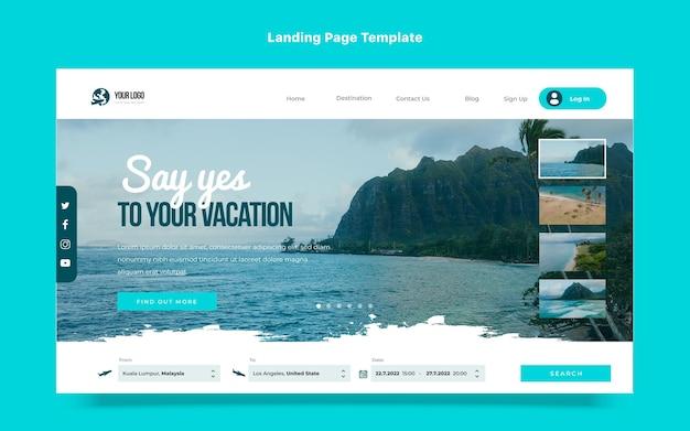 フラットなデザインの旅行のランディングページ
