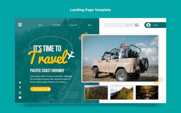 Design piatto della pagina di destinazione del viaggio
