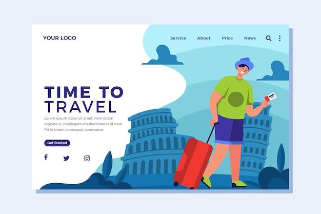 Целевая страница путешествия в плоском дизайне