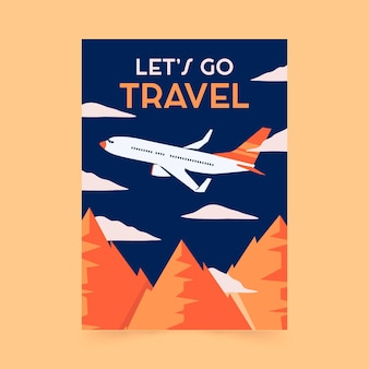 Flat design travel poster template
