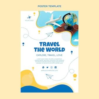 평면 디자인 여행 포스터 템플릿