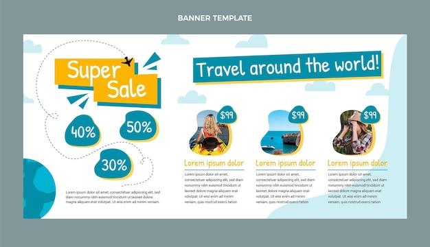 フラットデザインの旅行販売バナー