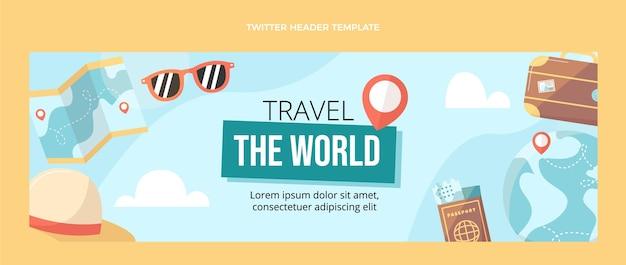 Плоский дизайн путешествия по миру twitter header