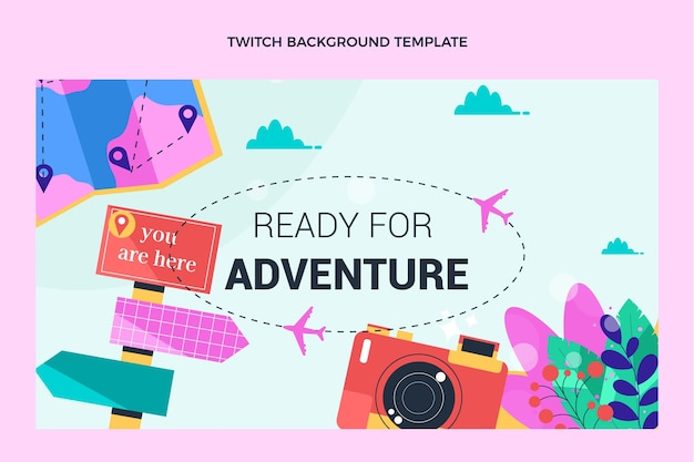 Плоский дизайн путешествия twitch баннер