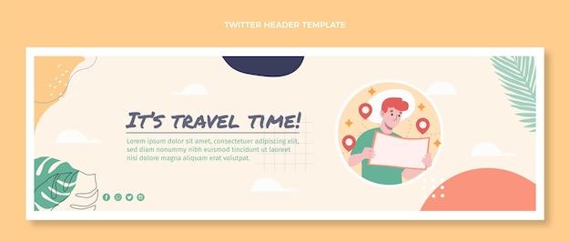 Плоский дизайн заголовка twitter путешествия Бесплатные векторы
