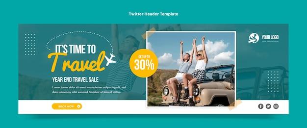 Design piatto dell'intestazione twitter di viaggio