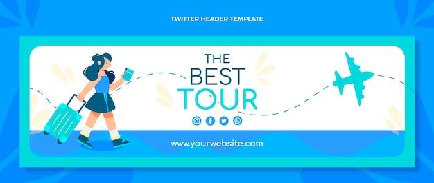 Плоский дизайн заголовка twitter путешествия