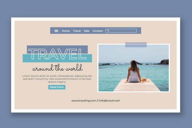 フラットデザインの旅行ウェビナーのランディングページ