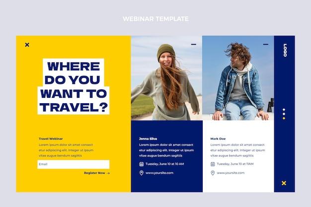 평면 디자인 여행 웹 세미나 템플릿 무료 벡터