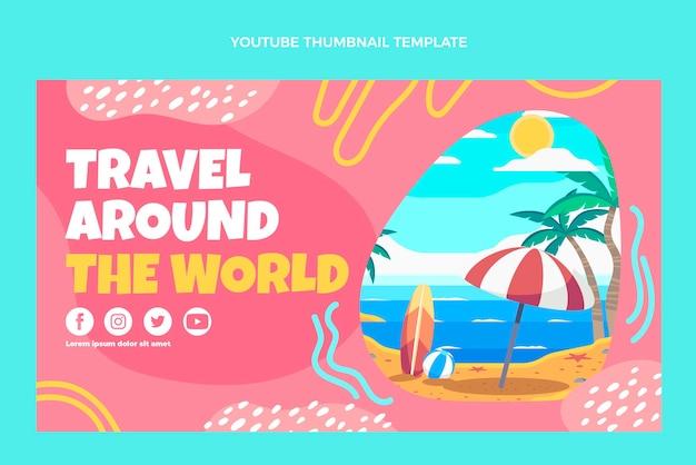 Il design piatto viaggia per il mondo miniatura di youtube
