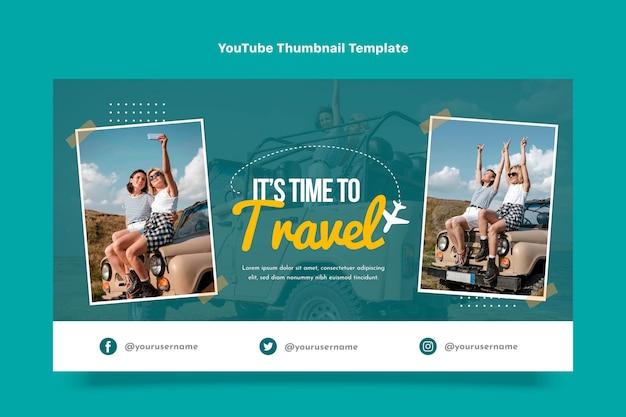 Design piatto dell'arte del canale youtube di viaggio