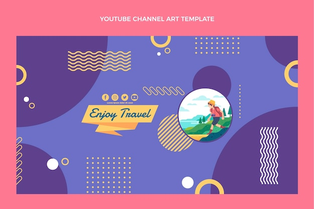 Modello di canale youtube di viaggio dal design piatto