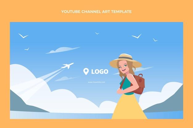フラットデザイン旅行youtubeチャンネルテンプレート