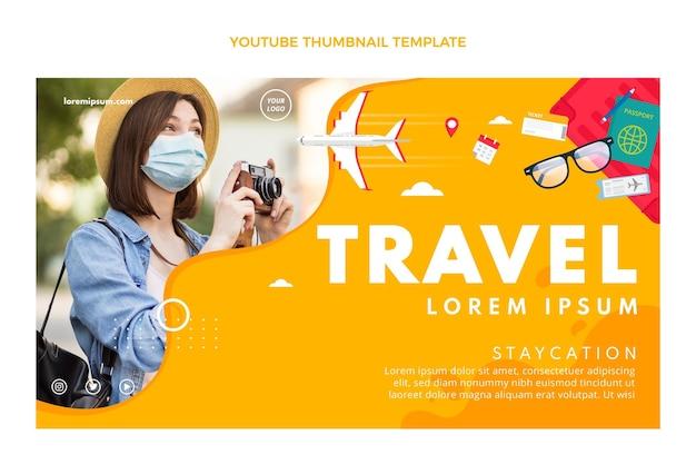 평면 디자인 여행 유튜브 썸네일 템플릿