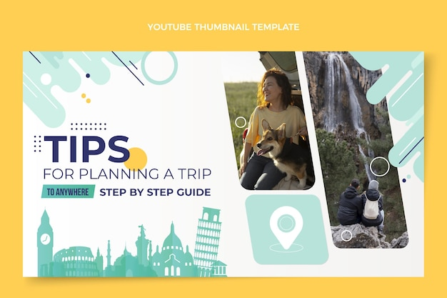 Flat design travel youtube thumbnail template