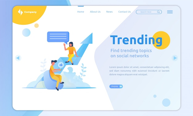 Flat design trending landing page template
