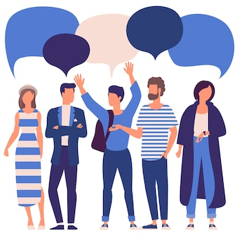Flat design trendy color people with blank speech bubbles