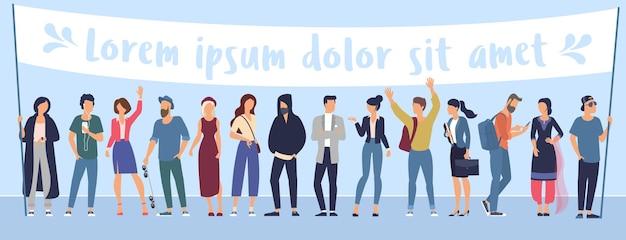 Плоский дизайн модных цветных людей с пустым белым знаменем различные стили персонажей и профессии, стоящие вместе, коллекция разнообразных актерских поз