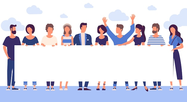 Flat design trendy color people with blank white banner