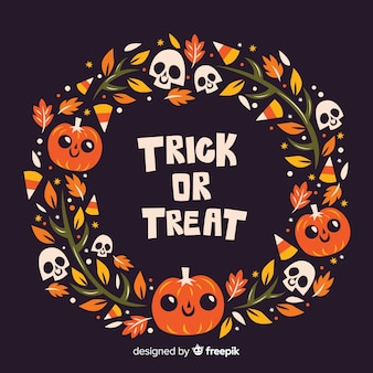 Flat design trick or treat halloween frame