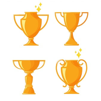 Flat design of trophy cup and award icon isolated on white .