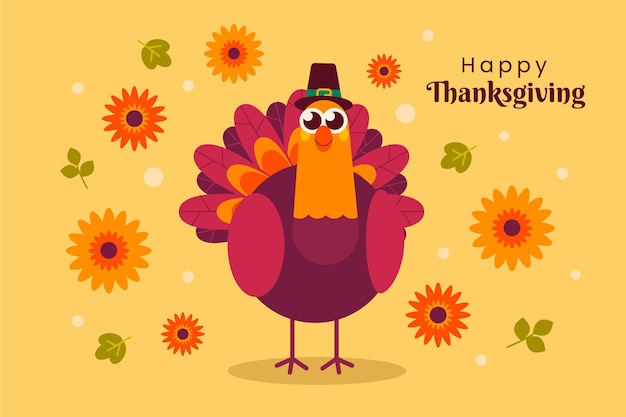 Flat design turkey thanksgiving background