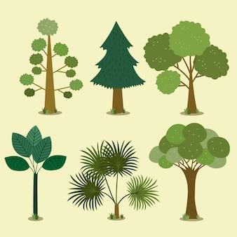 Tipo di design piatto di alberi verdi
