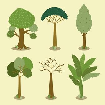 Плоский тип дизайна коллекции зеленых деревьев