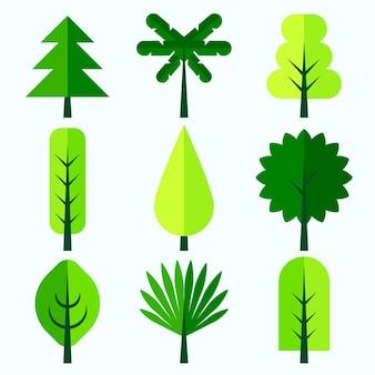 フラットデザインタイプの木コレクション