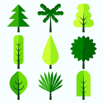 Flat design type of trees collection
