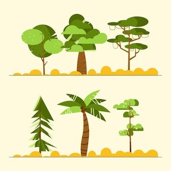 Flat design type of trees set