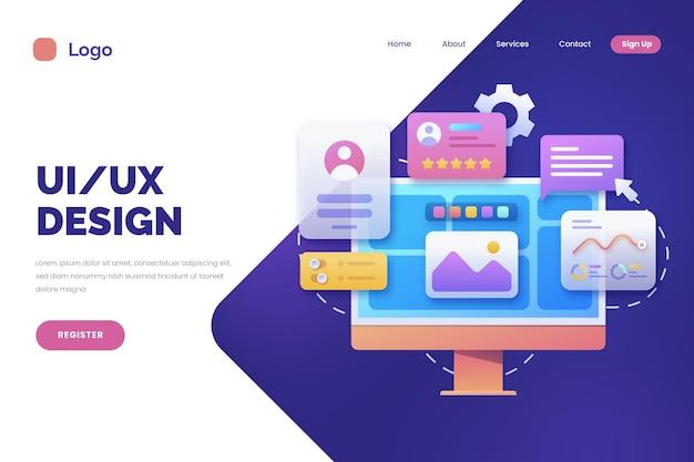 Flat design ui and ux landing page