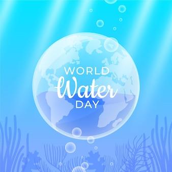 フラットデザインの水中世界水の日