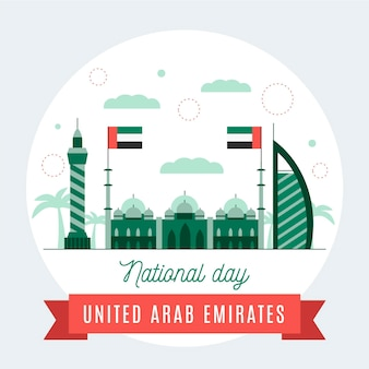 Flat design united arab emirates national day Free Vector