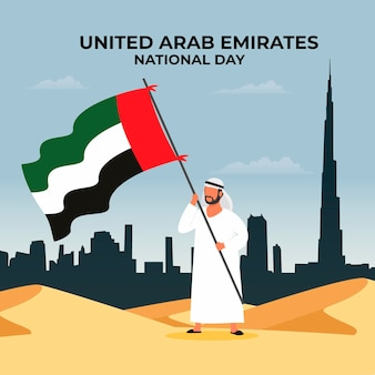 Flat design united arab emirates national day