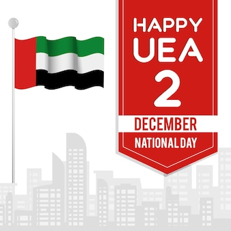 Flat design united arab emirates national day Free Vector