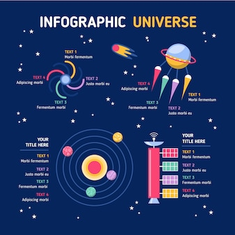 Flat design universe infographic pack