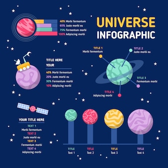 Flat design universe infographic with details