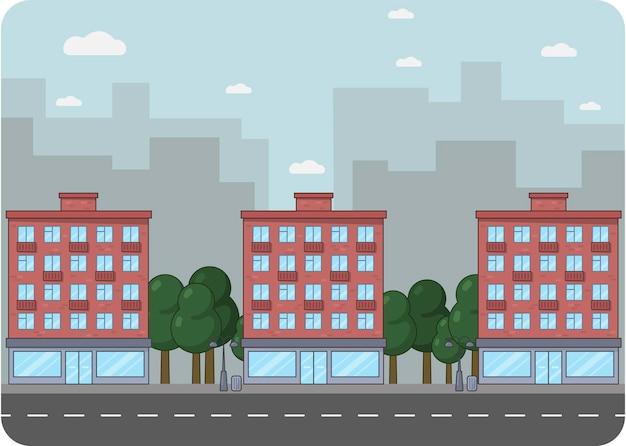 フラットなデザインの都市景観イラスト。背景にレンガ造りの建物と高層ビルがある通り