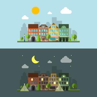 평면 디자인 도시 풍경. 밤 도시와 낮 도시와 건물. 벡터 일러스트 레이 션