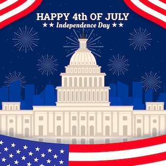 フラットなデザイン米国独立記念日のコンセプト