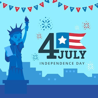 Flat design usa independence day concept