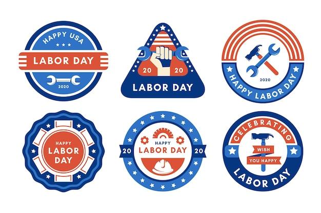 フラットなデザイン米国労働者の日バッジコレクション